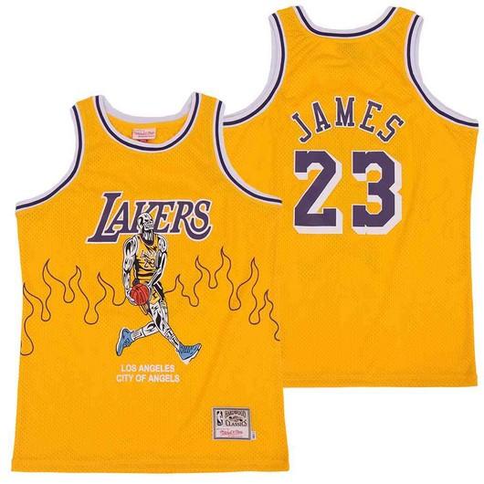 Lakers 23 Lebron James Yellow Hardwood Classics Skull Edition Jersey