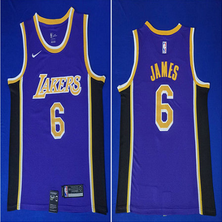 Lakers 6 Lebron James Purple Nike Swingman Jersey