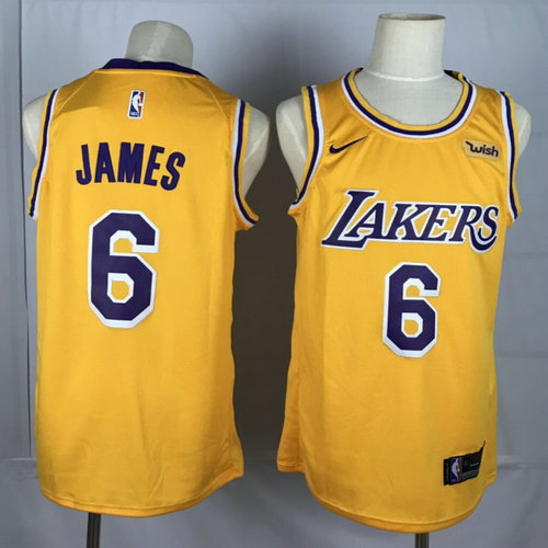 Lakers 6 Lebron James Yellow Nike Swingman Jersey
