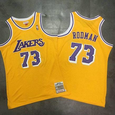 Lakers 73 Dennis Rodman Yellow 1998-99 Hardwood Classics Mesh Jersey