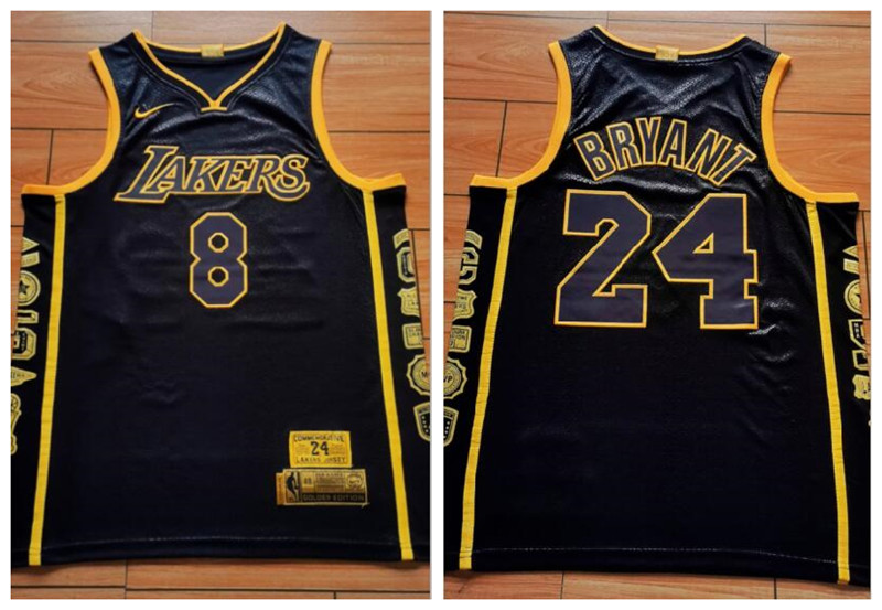 Lakers 8 & 24 Kobe Bryant Black Retirement Commemorative Swingman Jersey