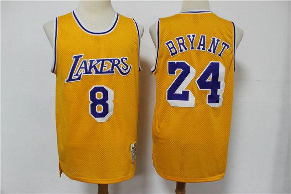 Lakers 8 & 24 Kobe Bryant Yellow 2020 Hardwood Classics Jersey
