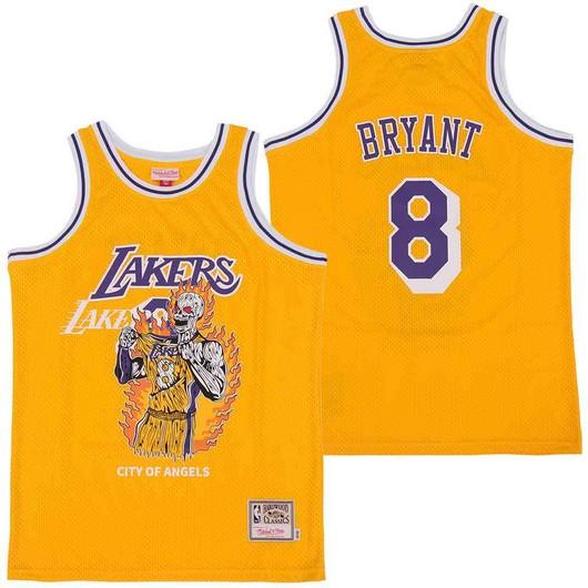 Lakers 8 Kobe Bryant Yellow Hardwood Classics Skull Edition Jersey