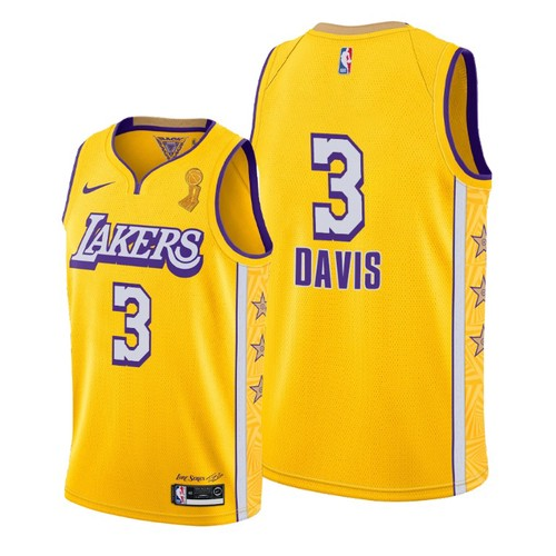 Lakers Anthony Davis 2020 Finals Champions Gold City Jersey