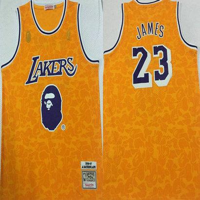 Lakers Bape 23 Lebron James Yellow 1996-97 Hardwood Classics Jersey