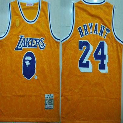 Lakers Bape 24 Kobe Bryant Yellow 1997-98 Hardwood Classics Jersey