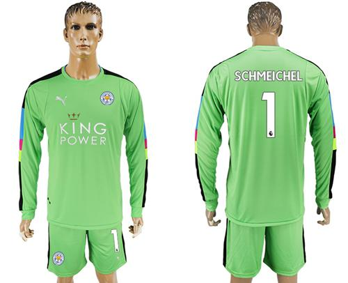 Leicester City #1 Schmeichel Green Goalkeeper Long Sleeves Soccer Club Jersey
