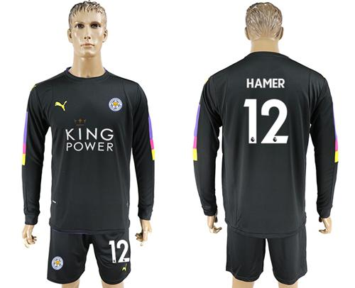 Leicester City #12 Hamer Black Goalkeeper Long Sleeves Soccer Club Jersey