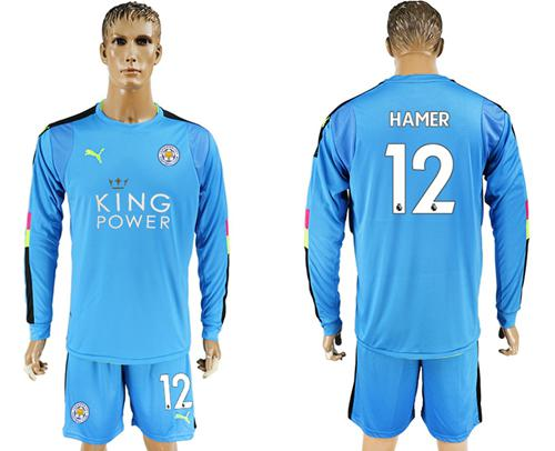Leicester City #12 Hamer Light Blue Goalkeeper Long Sleeves Soccer Club Jersey