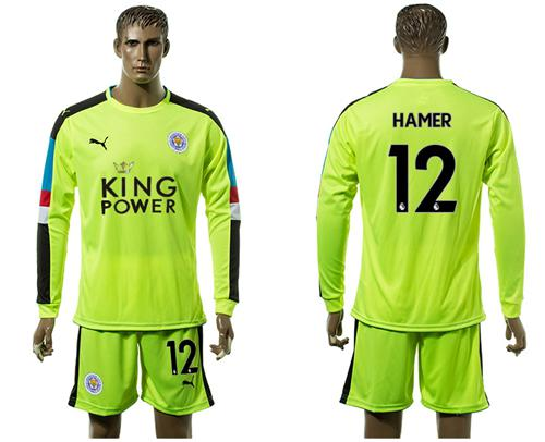 Leicester City #12 Hamer Shiny Green Goalkeeper Long Sleeves Soccer Club Jersey