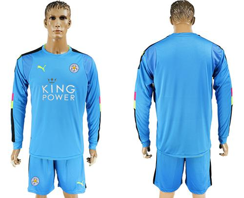 Leicester City Blank Light Blue Goalkeeper Long Sleeves Soccer Club Jersey