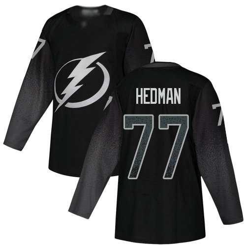 Lightning #77 Victor Hedman Black Alternate Authentic Stitched Youth Hockey Jersey