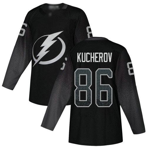 Lightning #86 Nikita Kucherov Black Alternate Authentic Stitched Youth Hockey Jersey