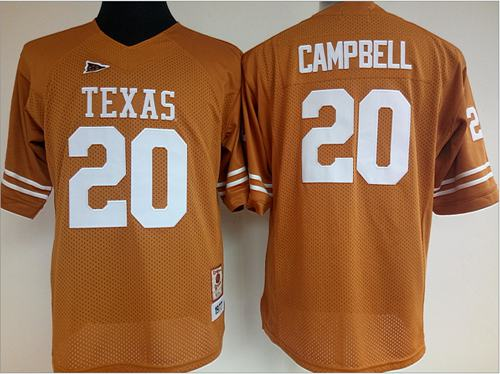 Longhorns #20 Earl Campbell Orange Women's Stitched NCAA Jersey