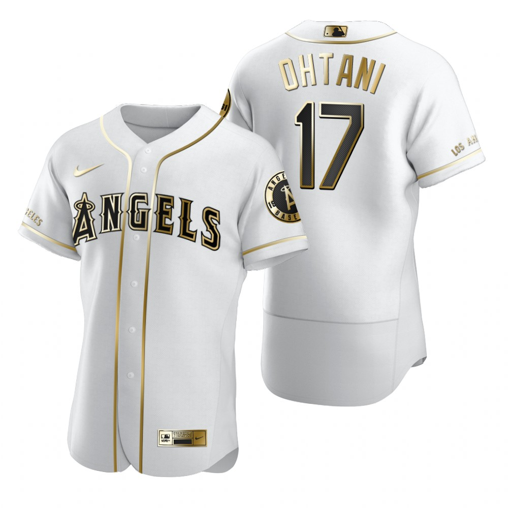 Los Angeles Angels #17 Shohei Ohtani White Nike Men's Authentic Golden Edition MLB Jersey