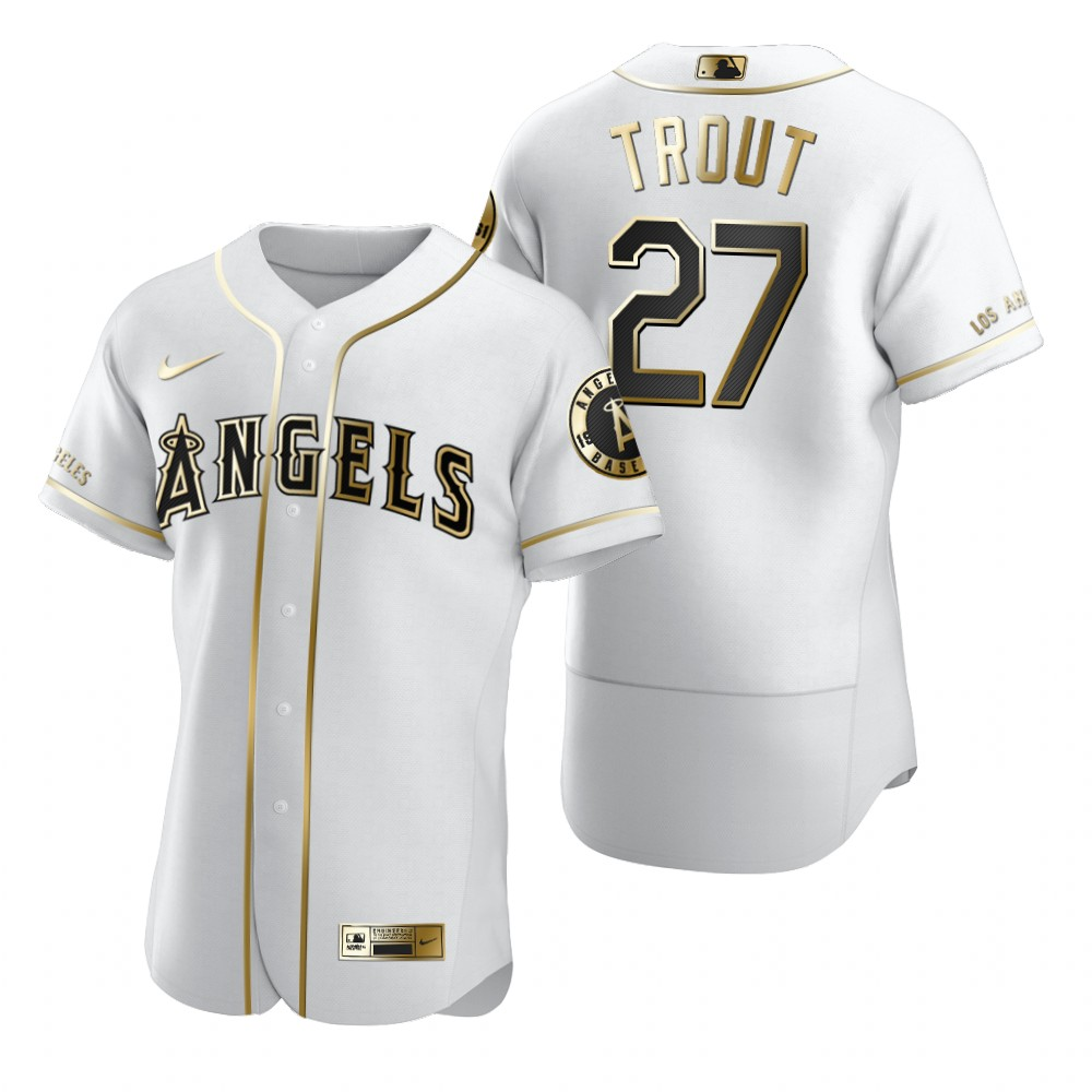 Los Angeles Angels #27 Mike Trout White Nike Men's Authentic Golden Edition MLB Jersey