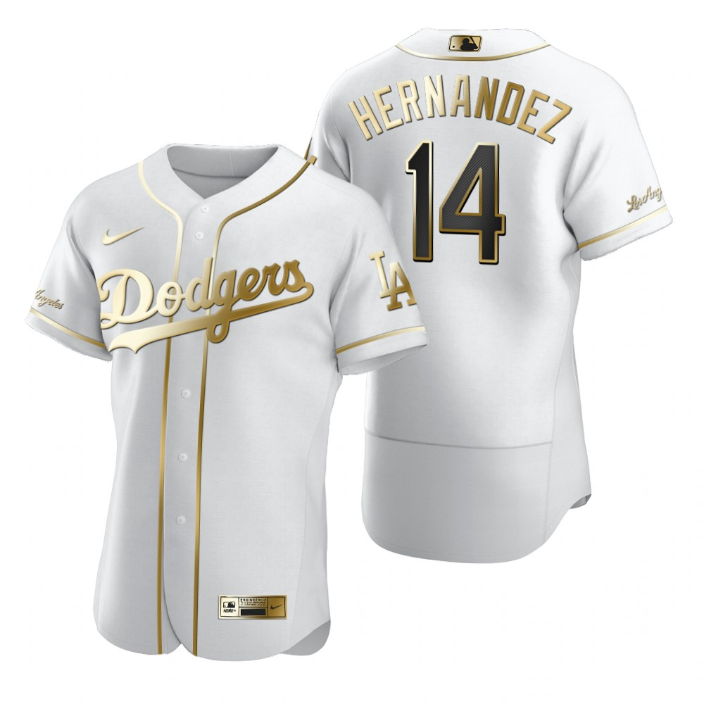 Los Angeles Dodgers #14 Enrique Hernandez White Nike Men's Authentic Golden Edition MLB Jersey