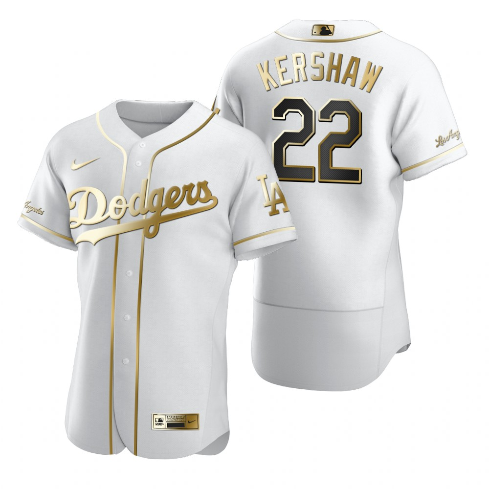 Los Angeles Dodgers #22 Clayton Kershaw White Nike Men's Authentic Golden Edition MLB Jersey