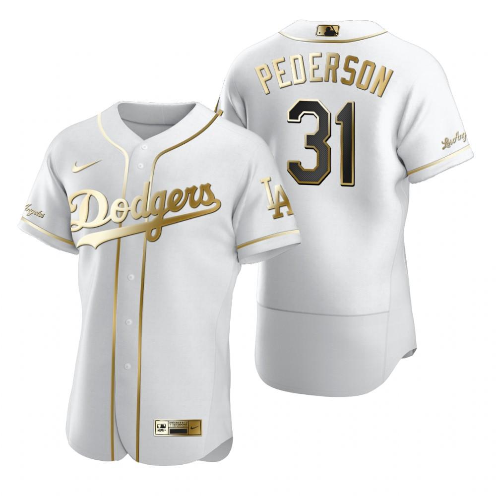 Los Angeles Dodgers #31 Joc Pederson White Nike Men's Authentic Golden Edition MLB Jersey