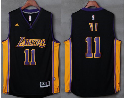 Los Angeles Lakers 11 Yi Jianlian Black(Purple NO.) NBA Jersey