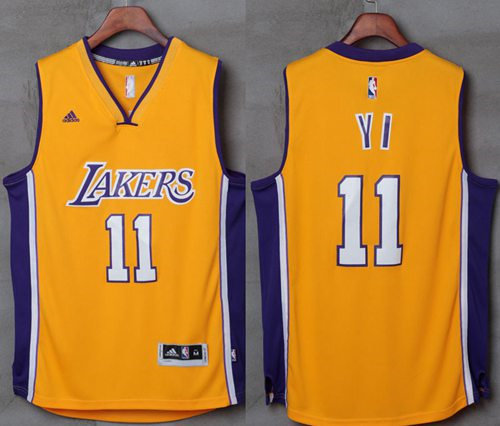 Los Angeles Lakers 11 Yi Jianlian Gold NBA Jersey