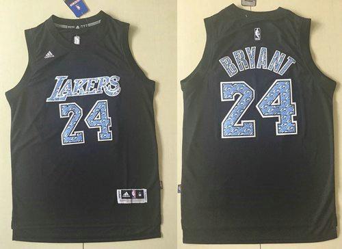 Los Angeles Lakers 24 Kobe Bryant Black Diamond Fashion NBA Jersey