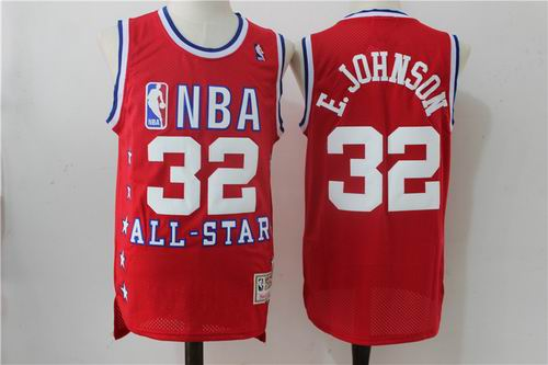 Los Angeles Lakers 32 Magic Johnson red 2003 all star jerseys
