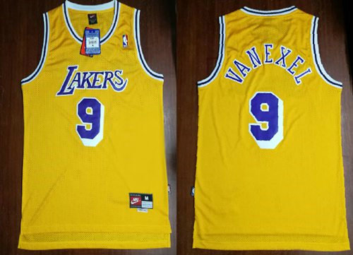 Los Angeles Lakers 9 Nick Van Exel Yellow Throwback Mitchell And Ness NBA Jersey