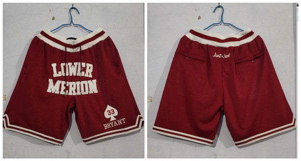 Lower Merion Aces 33 Kobe Bryant Red Just Don With Pocket High School Mesh Shorts_副本