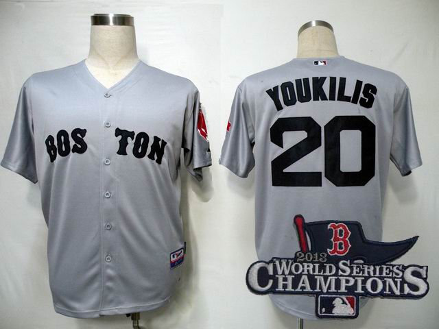 MLB Jerseys Boston Red Sox 20 Youkilis Grey Cool Base 2013 World Series Champions ptach
