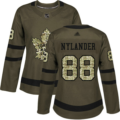 Maple Leafs #88 William Nylander Green Salute to Service Women's Stitched Hockey Jersey