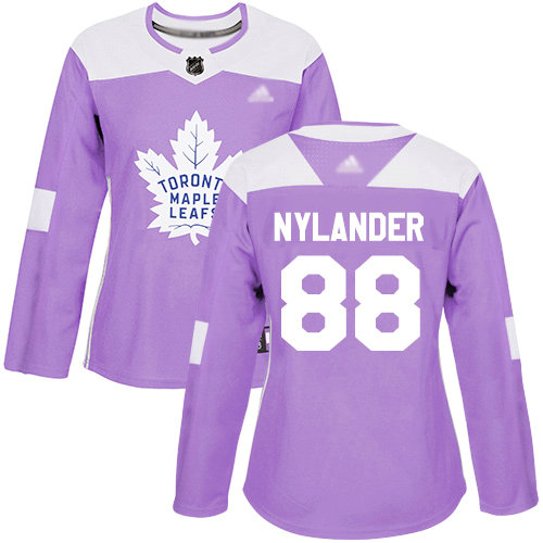 Maple Leafs #88 William Nylander Purple Authentic Fights Cancer Women's Stitched Hockey Jersey