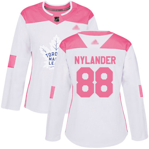 Maple Leafs #88 William Nylander White Pink Authentic Fashion Women's Stitched Hockey Jersey