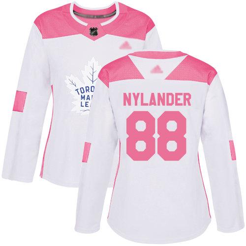Maple Leafs #88 William Nylander White Pink Authentic Fashion Women's Stitched Hockey Jersey