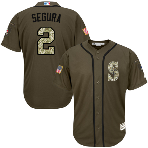 Mariners #2 Jean Segura Green Salute to Service Stitched Youth Baseball Jersey