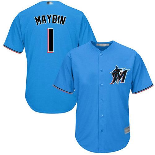 Marlins #1 Cameron Maybin Blue Cool Base Stitched Youth Baseball Jersey