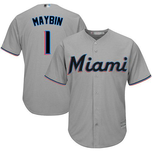 Marlins #1 Cameron Maybin Grey Cool Base Stitched Youth Baseball Jersey