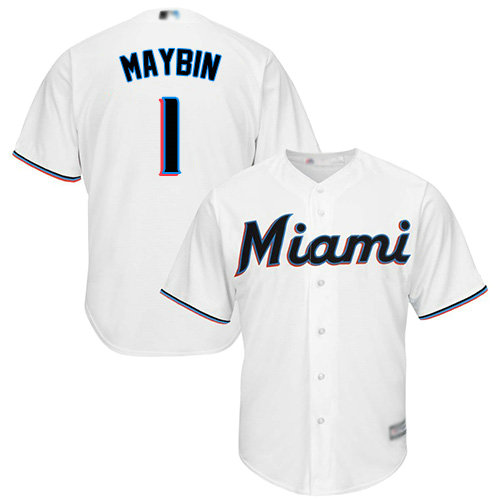 Marlins #1 Cameron Maybin White Cool Base Stitched Youth Baseball Jersey