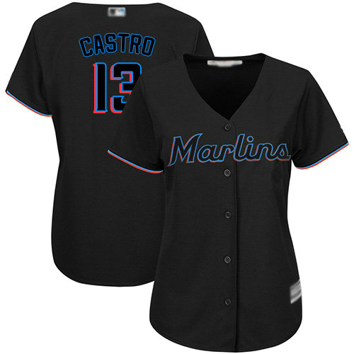Marlins #13 Starlin Castro Black Alternate Women's Stitched Baseball Jersey