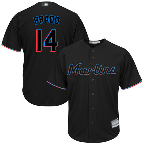 Marlins #14 Martin Prado Black Cool Base Stitched Youth Baseball Jersey