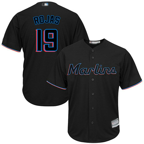 Marlins #19 Miguel Rojas Black Cool Base Stitched Youth Baseball Jersey