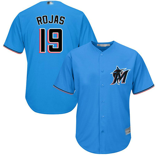 Marlins #19 Miguel Rojas Blue Cool Base Stitched Youth Baseball Jersey