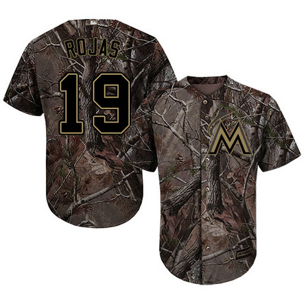 Marlins #19 Miguel Rojas Camo Realtree Collection Cool Base Stitched Youth Baseball Jersey