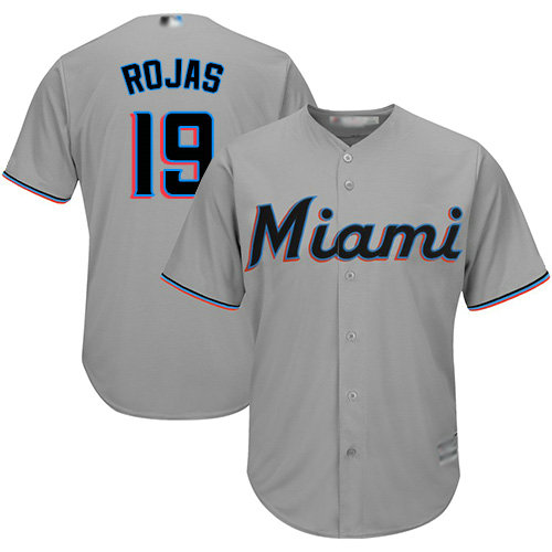 Marlins #19 Miguel Rojas Grey Cool Base Stitched Youth Baseball Jersey