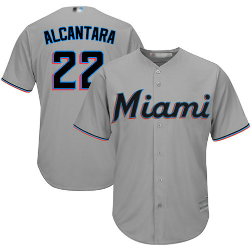 Marlins #22 Sandy Alcantara Grey Cool Base Stitched Youth Baseball Jersey