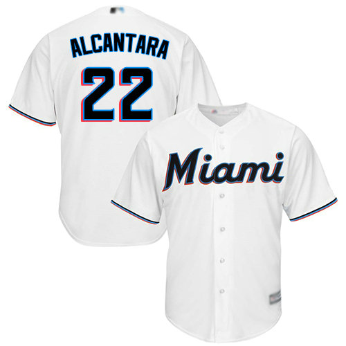 Marlins #22 Sandy Alcantara White Cool Base Stitched Youth Baseball Jersey