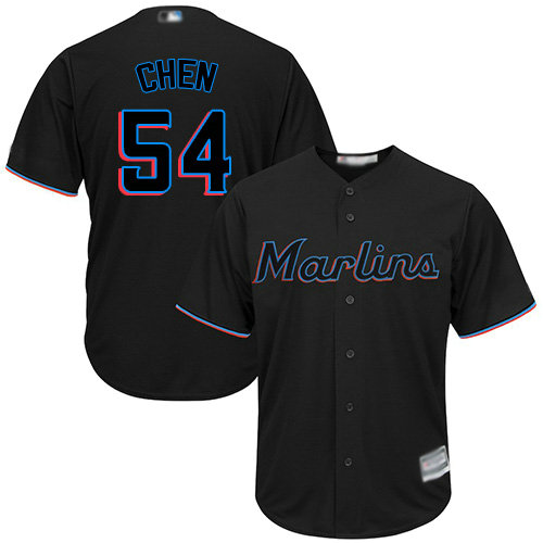 Marlins #54 Wei-Yin Chen Black Cool Base Stitched Youth Baseball Jersey