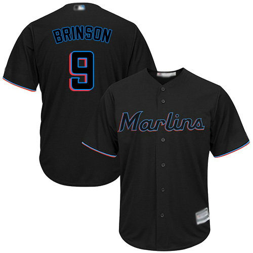 Marlins #9 Lewis Brinson Black Cool Base Stitched Youth Baseball Jersey