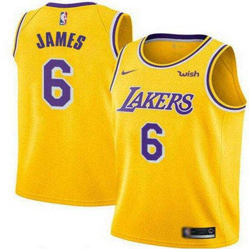 Men's #6 LeBron James Gold Los Angeles Lakers Swingman Jersey