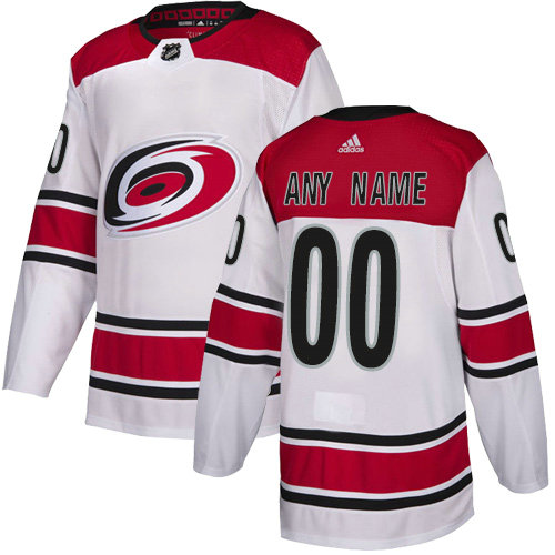 Men's Adidas Hurricanes Personalized Authentic White Road NHL Jersey
